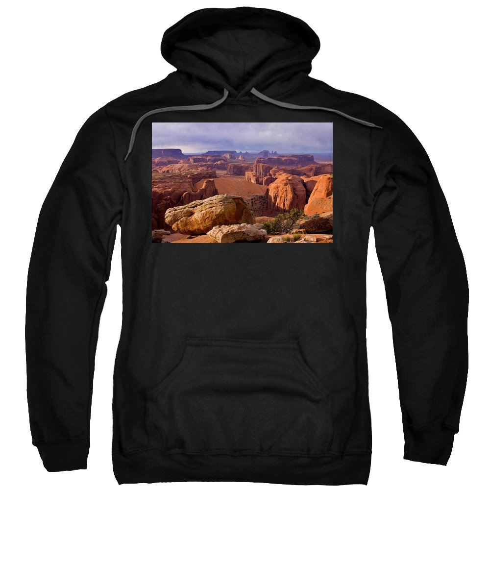 Hunts Mesa Arizona Utah Border Sandstone Little Captian Valley Kayenta Arizona Monument Valley Navajo County Navajo Land Sand Dunes Monument Valley Tribal Park Sweatshirt featuring the photograph Hunts Mesa Arizona by Reed Rahn
