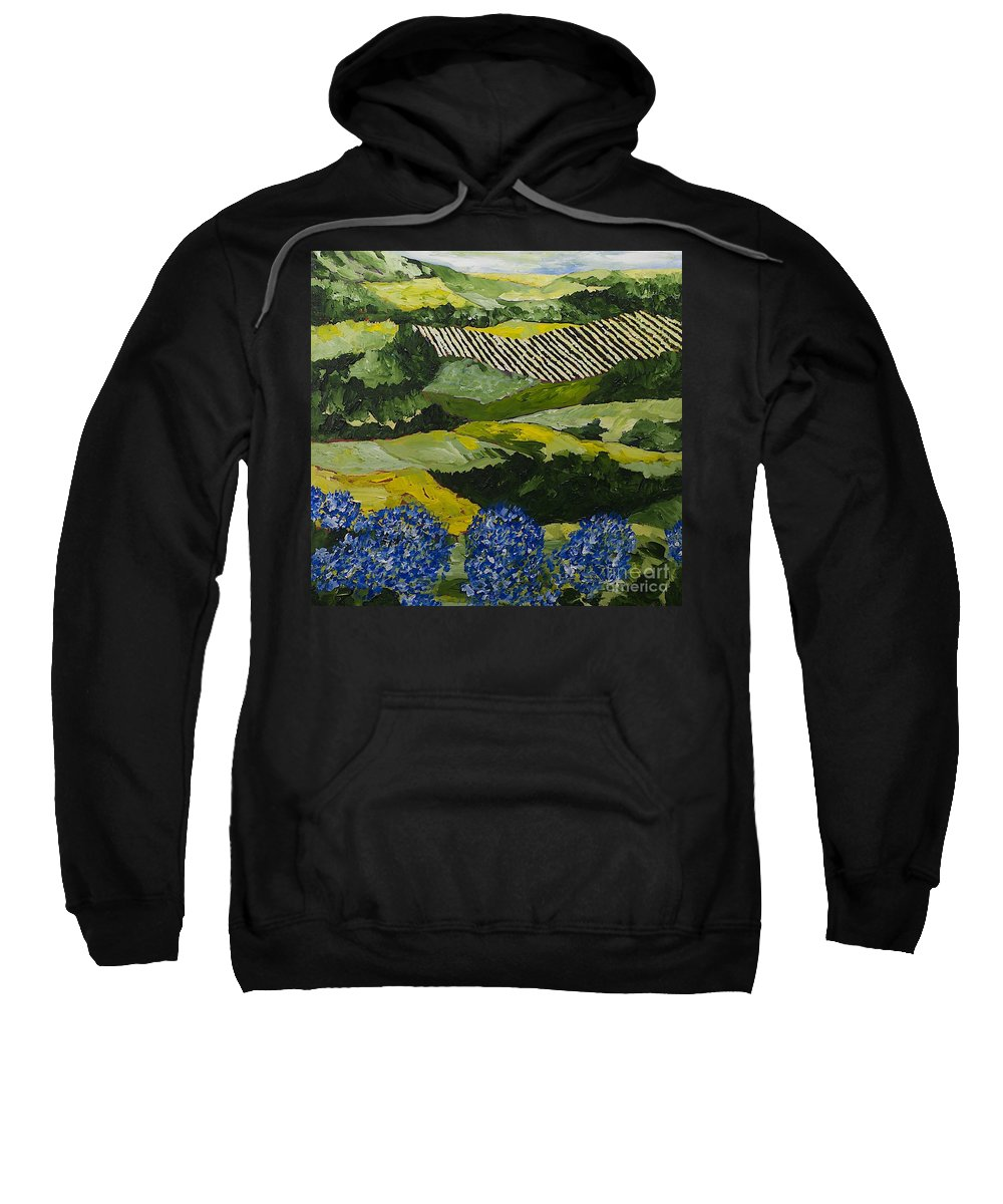 Landscape Sweatshirt featuring the painting Hydrangea Valley by Allan P Friedlander