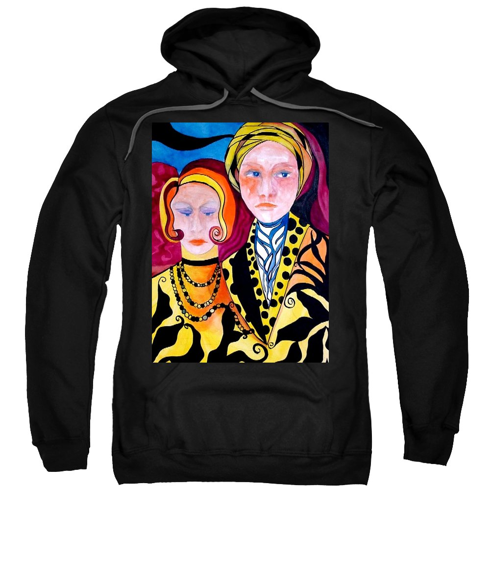 People Sweatshirt featuring the painting Alone And Together by Carolyn LeGrand