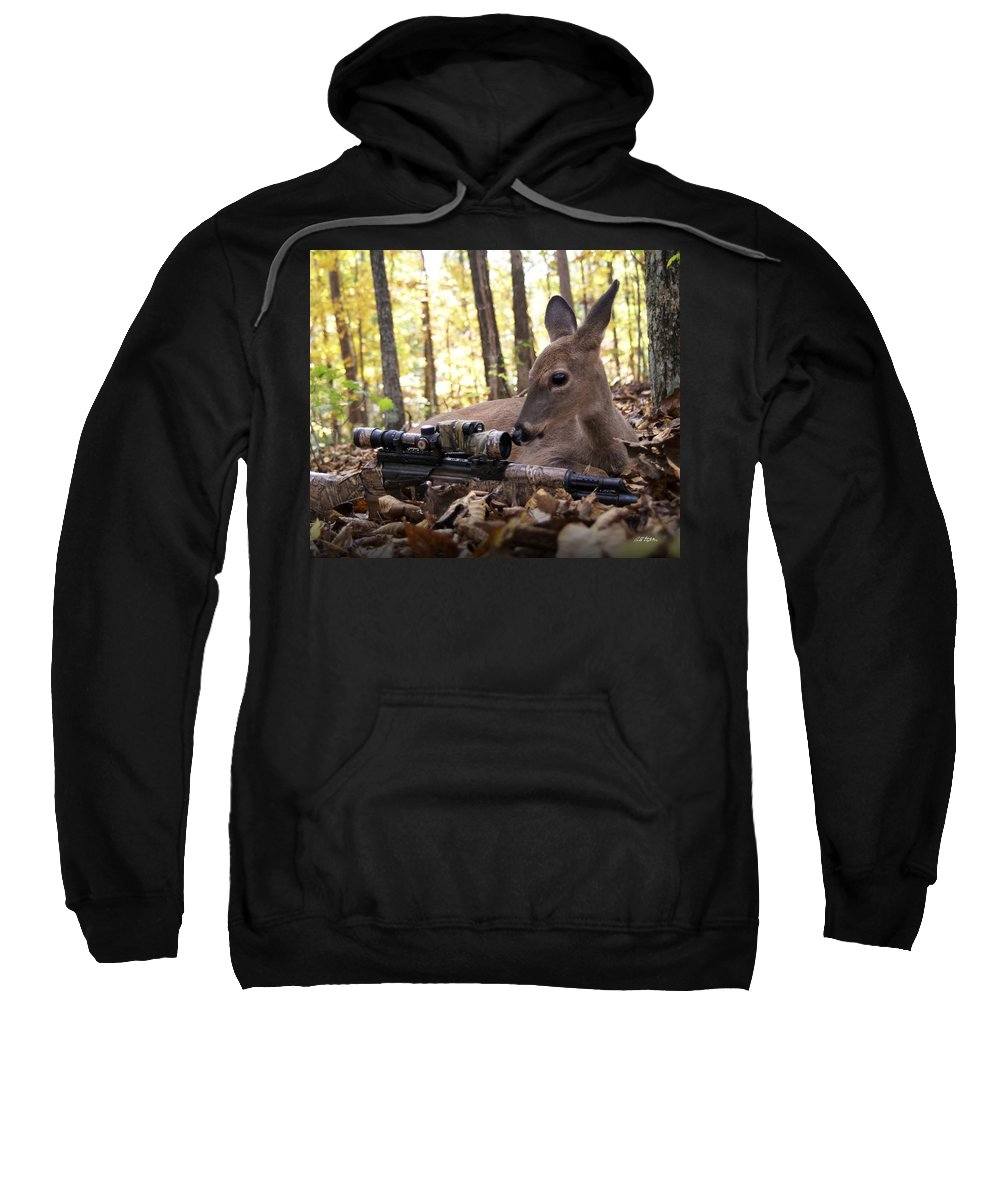 Deer Sweatshirt featuring the photograph I Don't Understand by Bill Stephens