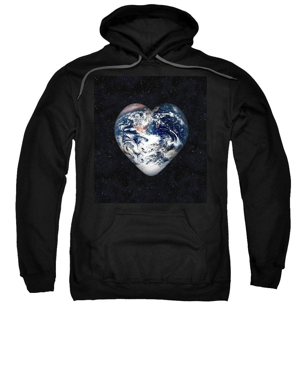 Earth Sweatshirt featuring the digital art I Love Earth by Gravityx9 Designs