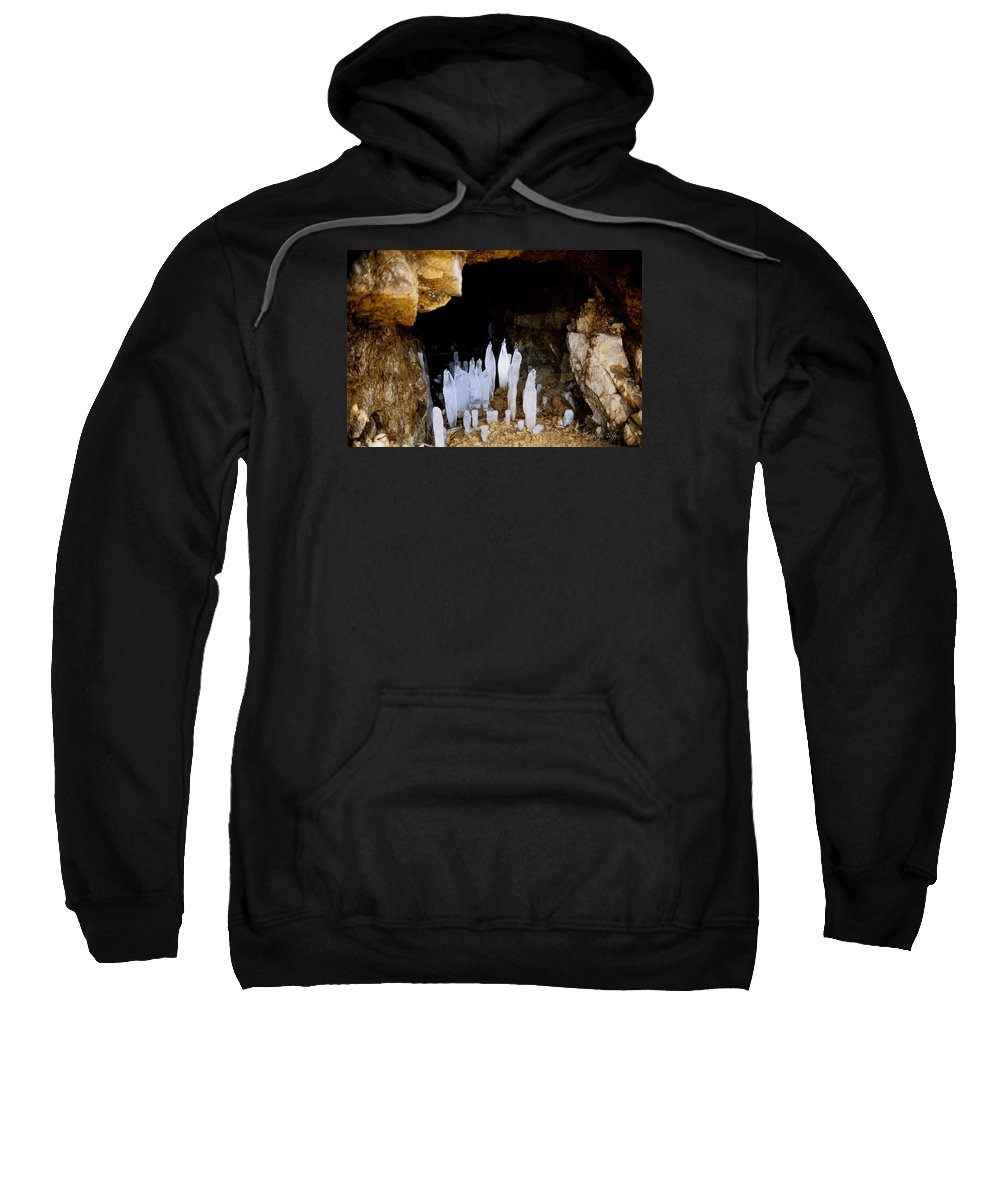Cave Ice Winter Icicles Nature Zen Simple Colorado Rocky Mountains Sweatshirt featuring the photograph Ice In A Cave by George Tuffy
