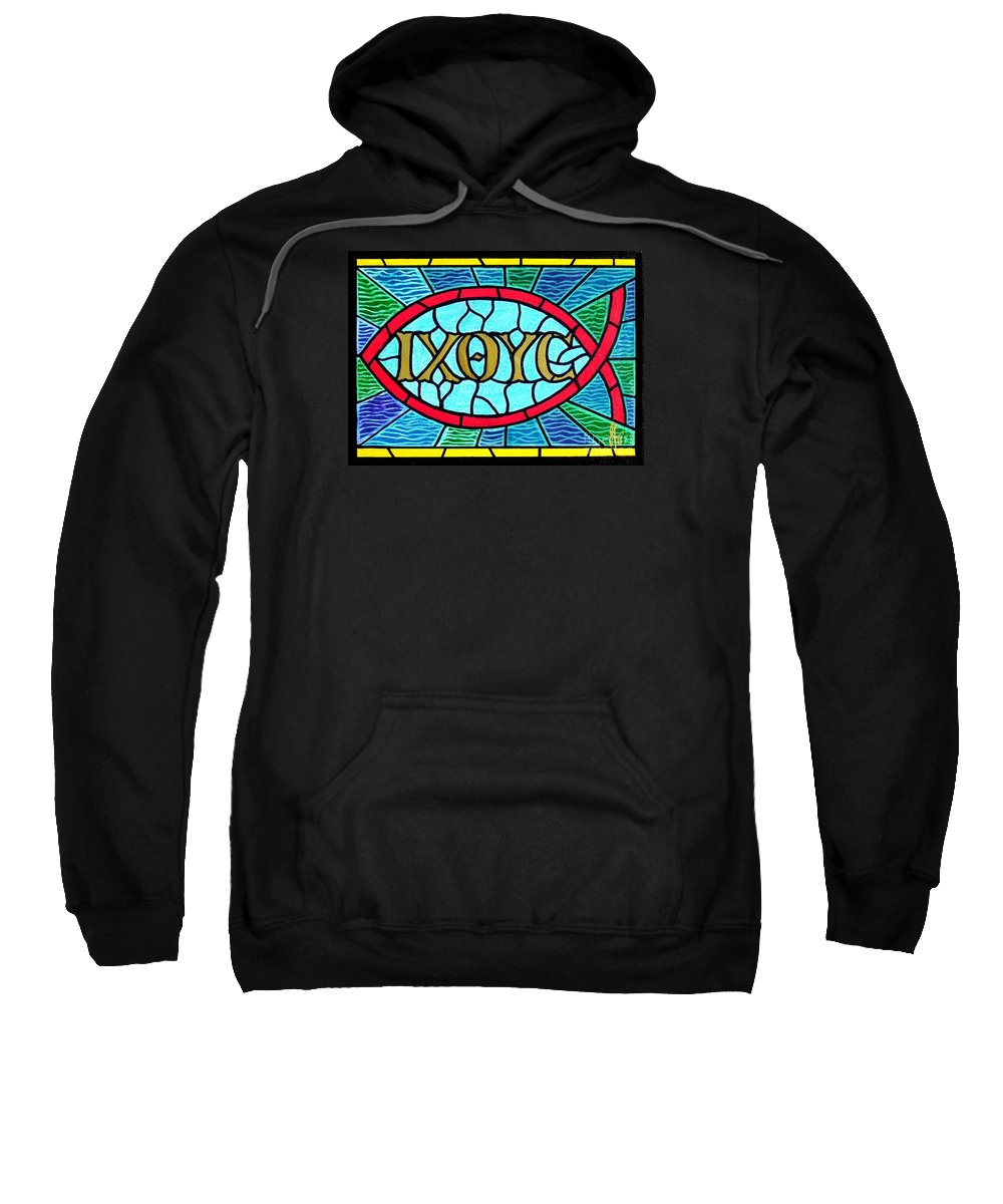 Church Sweatshirt featuring the painting Icthus Sign Of The Fish by Jim Harris