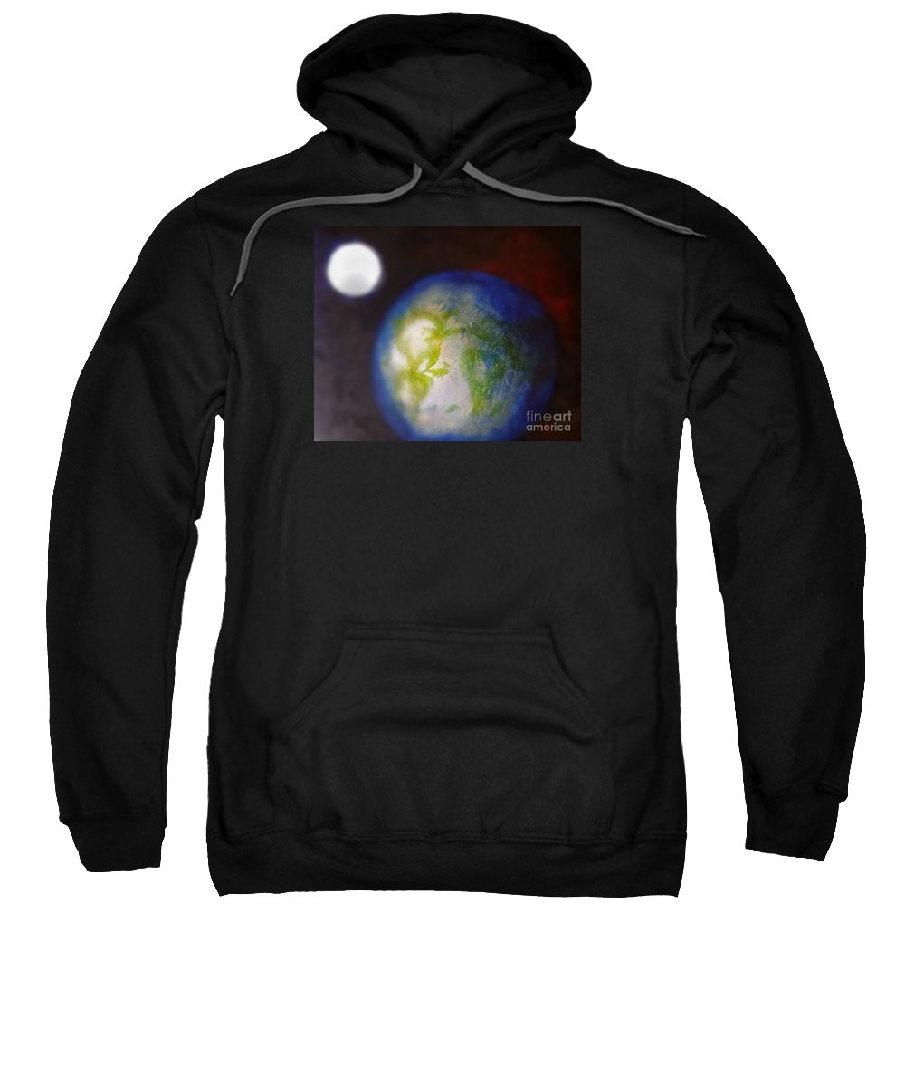 Earth Sweatshirt featuring the painting If Land Were Like Clouds In The Sky by Jennifer Rose Hill