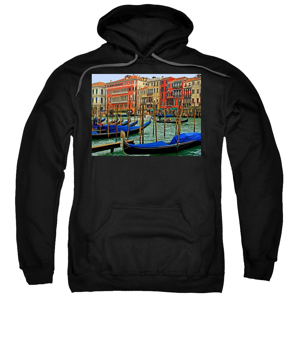 Grand Canal. Venice. Il Canalazzo. Italy. Great Cities. Travel Posters. Venetian Gondolas. Sweatshirt featuring the photograph Il Canalazzo Venezia by Michael Moore