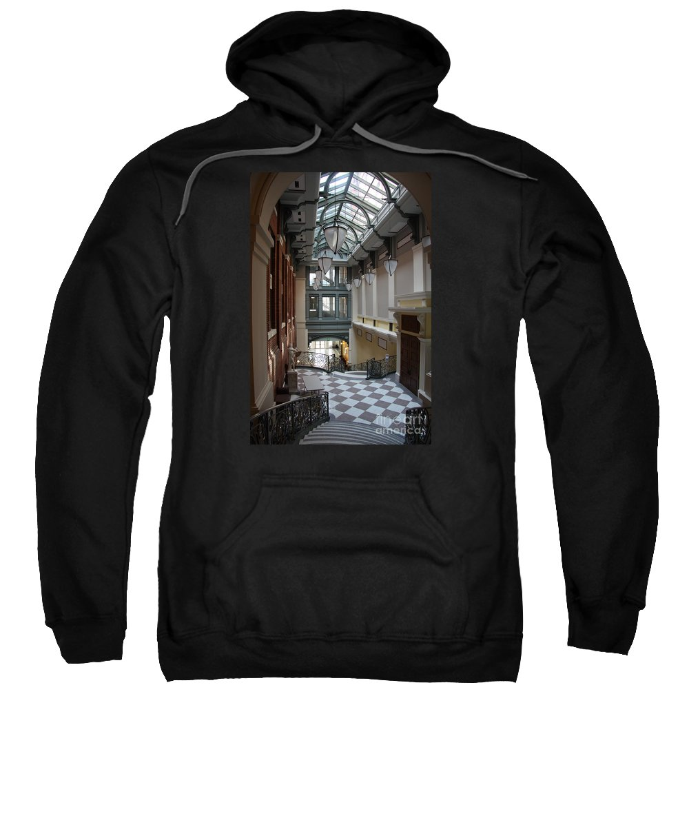 Hallway Sweatshirt featuring the photograph In The Hallway - Peabody Library by Christiane Schulze Art And Photography
