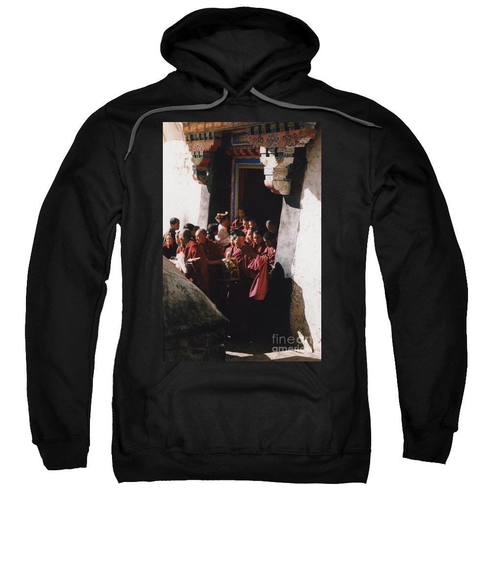 First Star Sweatshirt featuring the photograph In Tibet Tibetan Monks 5 By Jrr by First Star Art