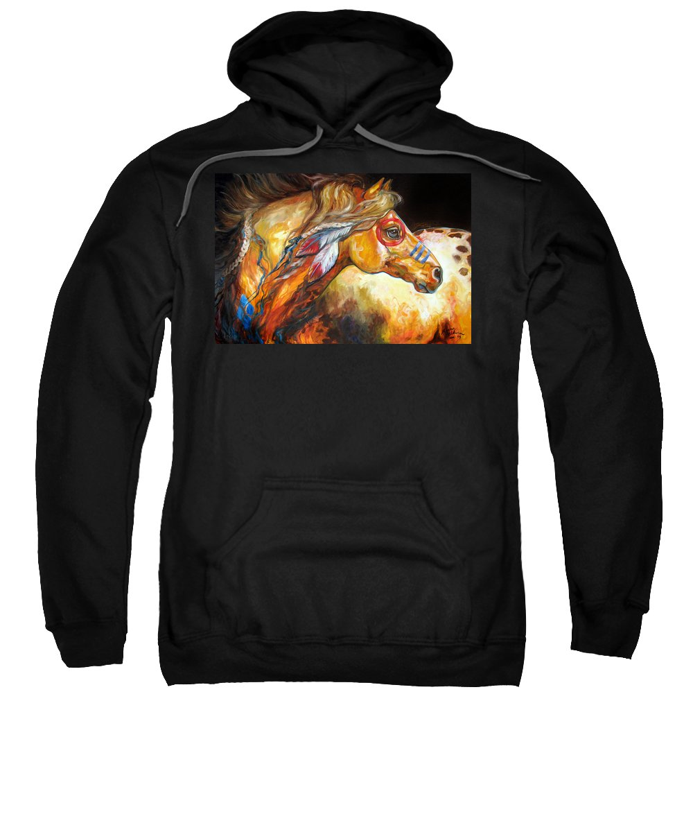 Horse Sweatshirt featuring the painting Indian War Horse Golden Sun by Marcia Baldwin