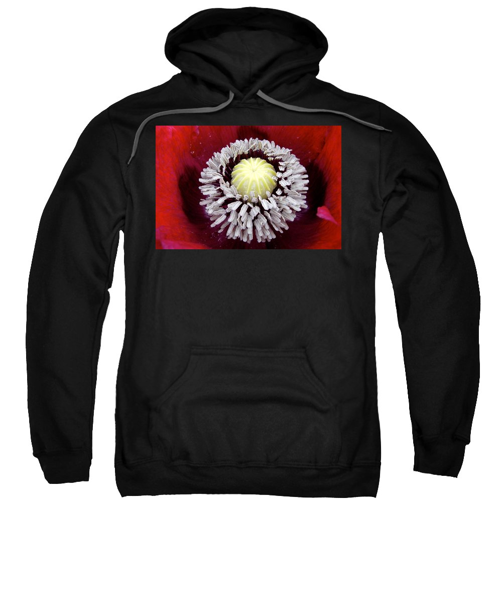 Flower Sweatshirt featuring the photograph Inside Poppy by Noa Mohlabane