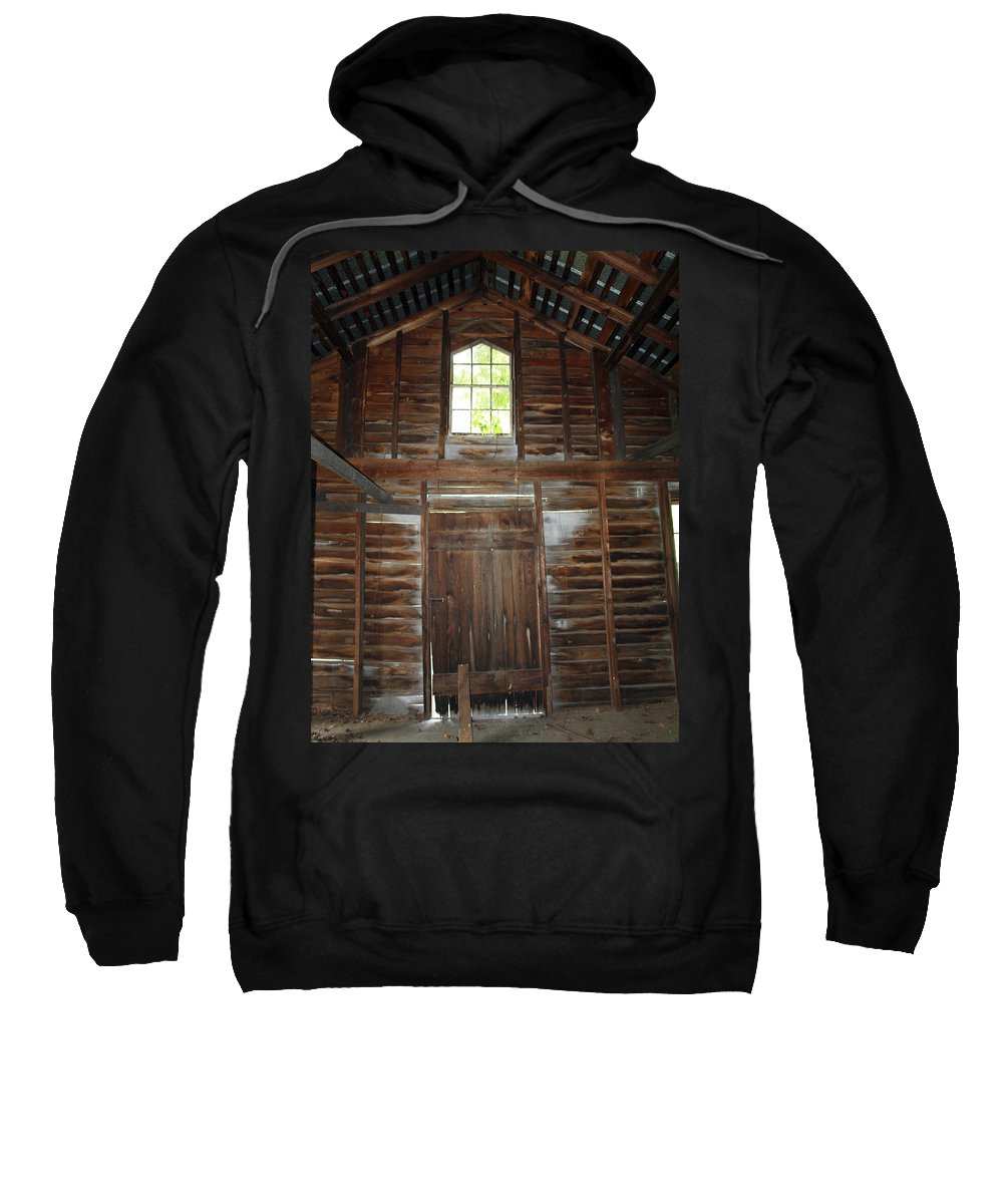 Cabins Sweatshirt featuring the photograph Inside The Barn by Robert Margetts