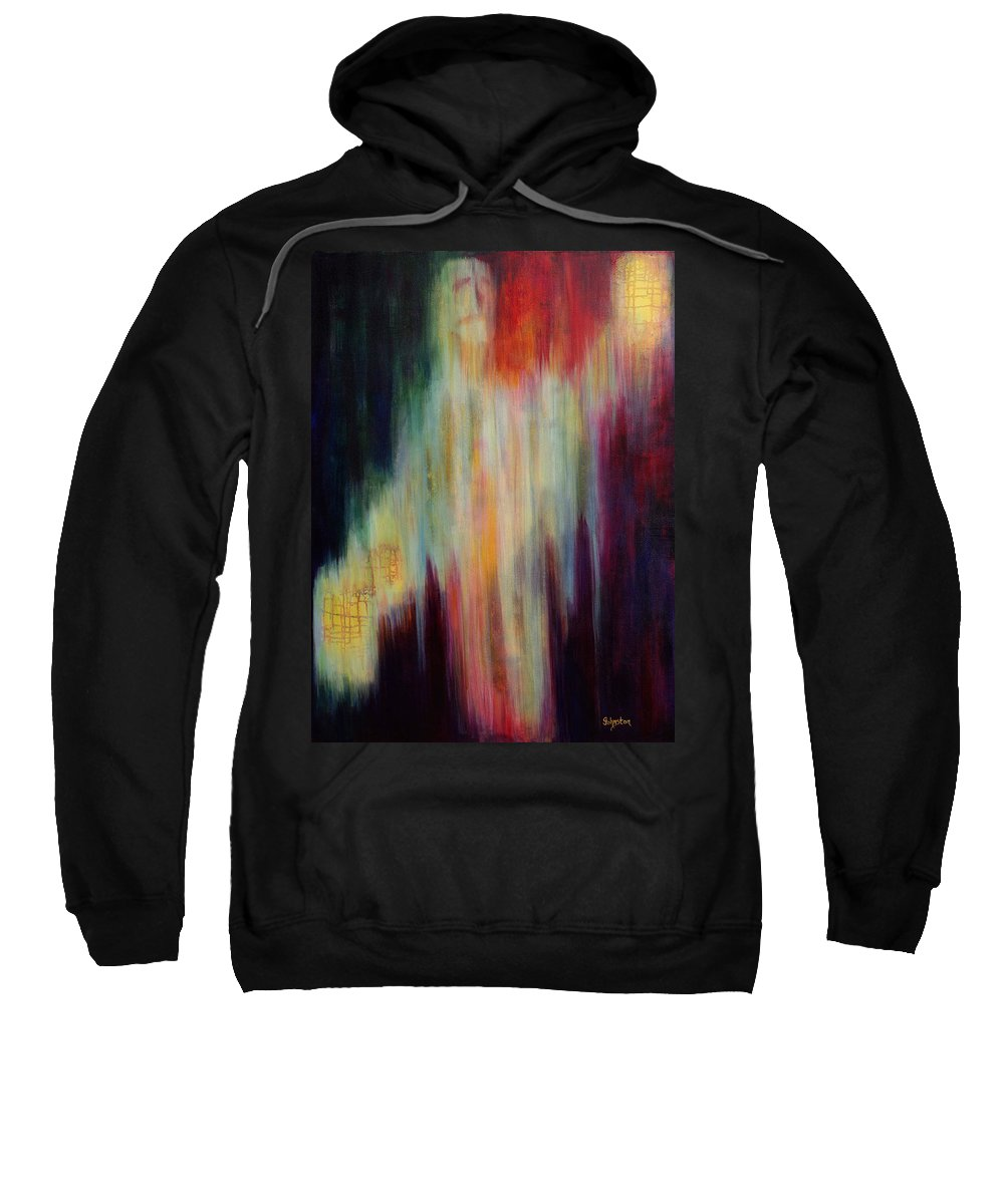 Abstract Art Sweatshirt featuring the painting Into The Light by Cindy Johnston