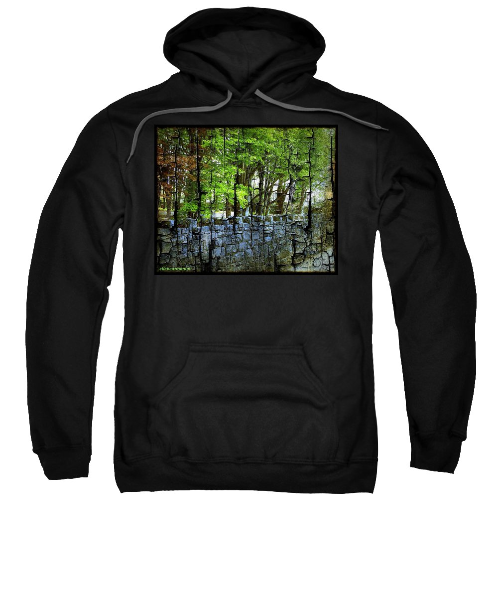 Ireland Sweatshirt featuring the photograph Ireland Stone Wall And Trees by Ellen Cannon