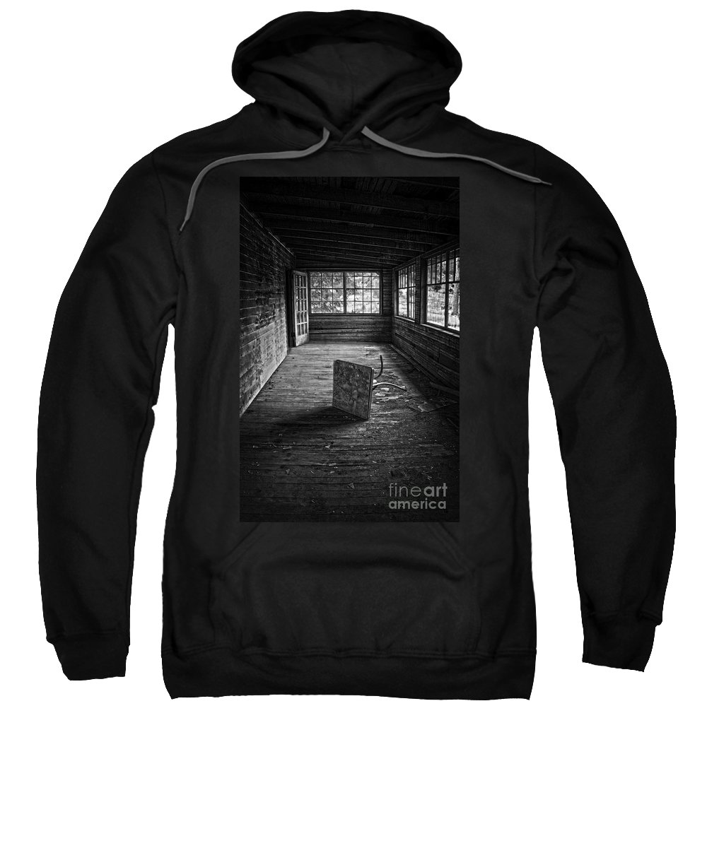 Black And White Sweatshirt featuring the photograph It's Empty Now by Debra Fedchin