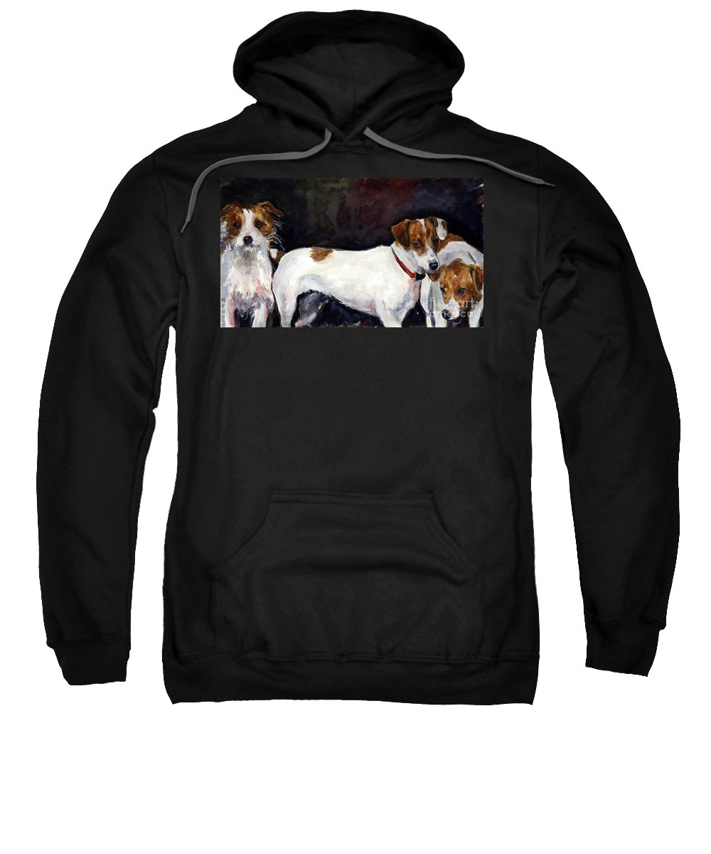Jack Russell Terriers Sweatshirt featuring the painting Jack Trio by Molly Poole