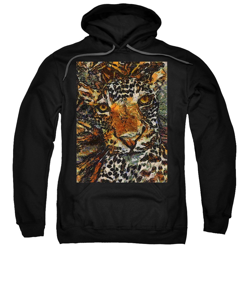 Jaguar Sweatshirt featuring the photograph Jagvangogh by Alice Gipson