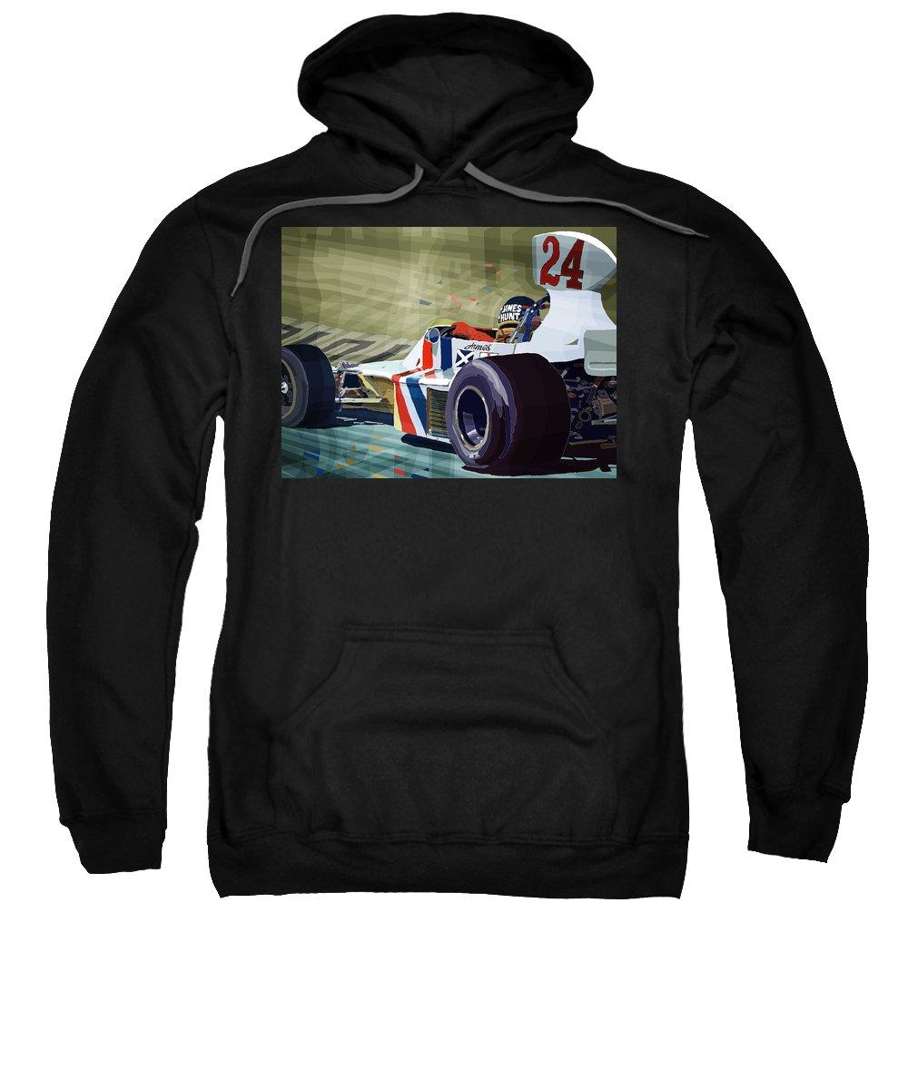 Automotive Sweatshirt featuring the digital art James Hunt 1975 Hesketh 308b by Yuriy Shevchuk
