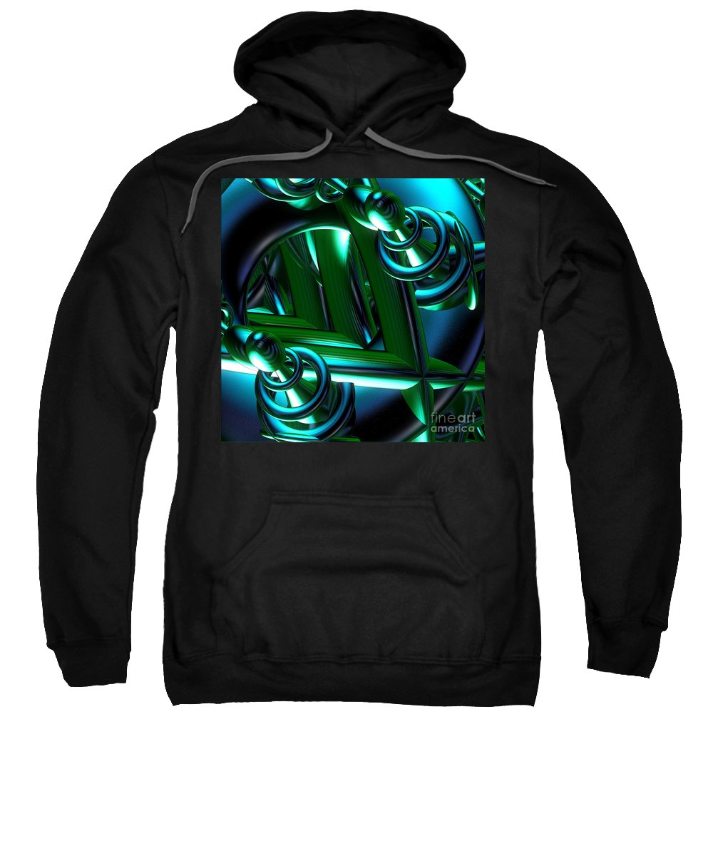 First Star Art Sweatshirt featuring the digital art Jammer Blue Green Flux 001 by First Star Art