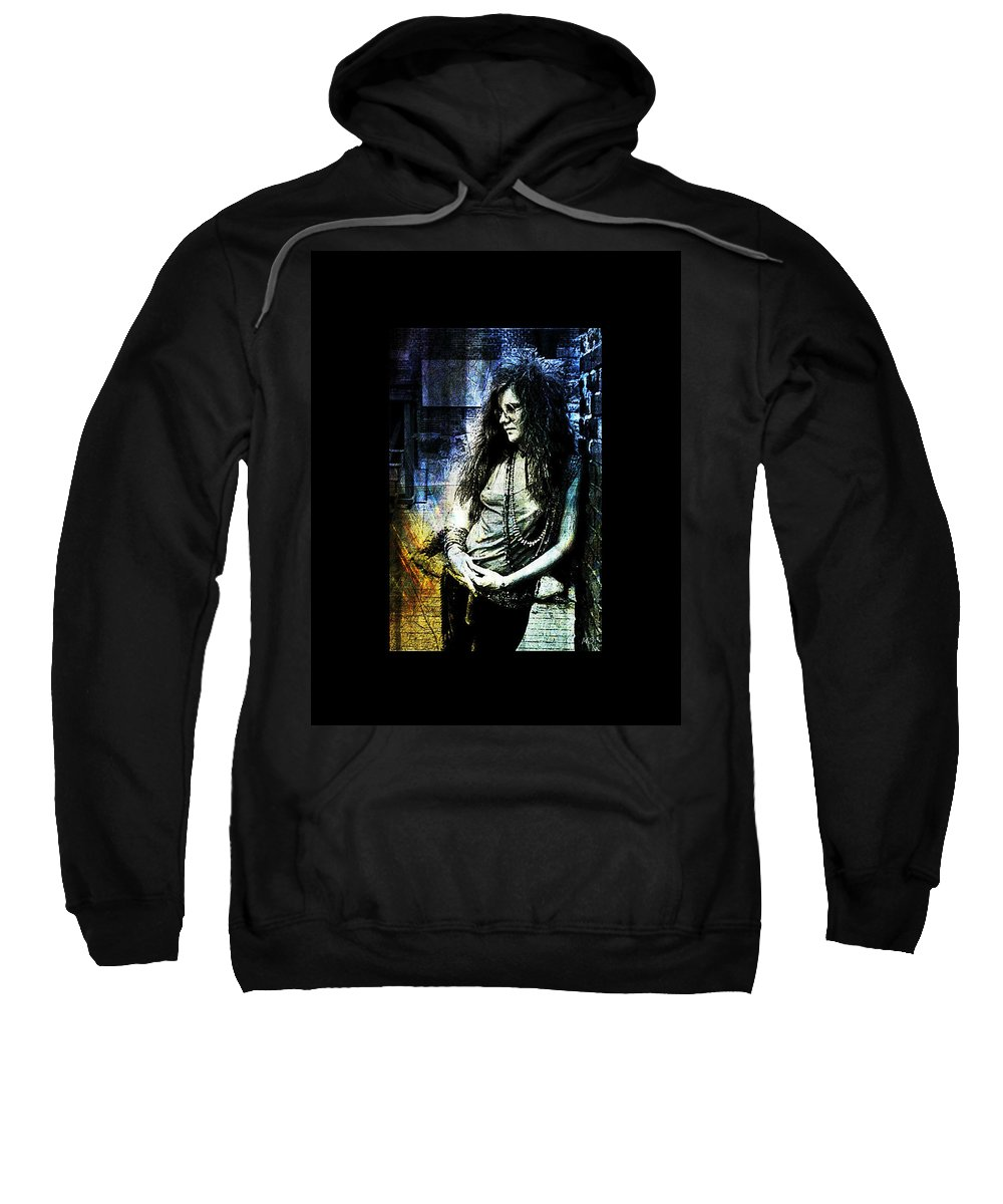 Janis Joplin Sweatshirt featuring the digital art Janis Joplin - Blue by Absinthe Art By Michelle LeAnn Scott