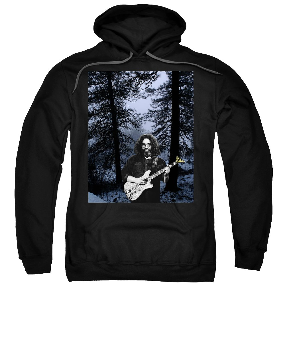 Jerry Garcia Sweatshirt featuring the photograph Jerry Cold Rain And Snow by Ben Upham