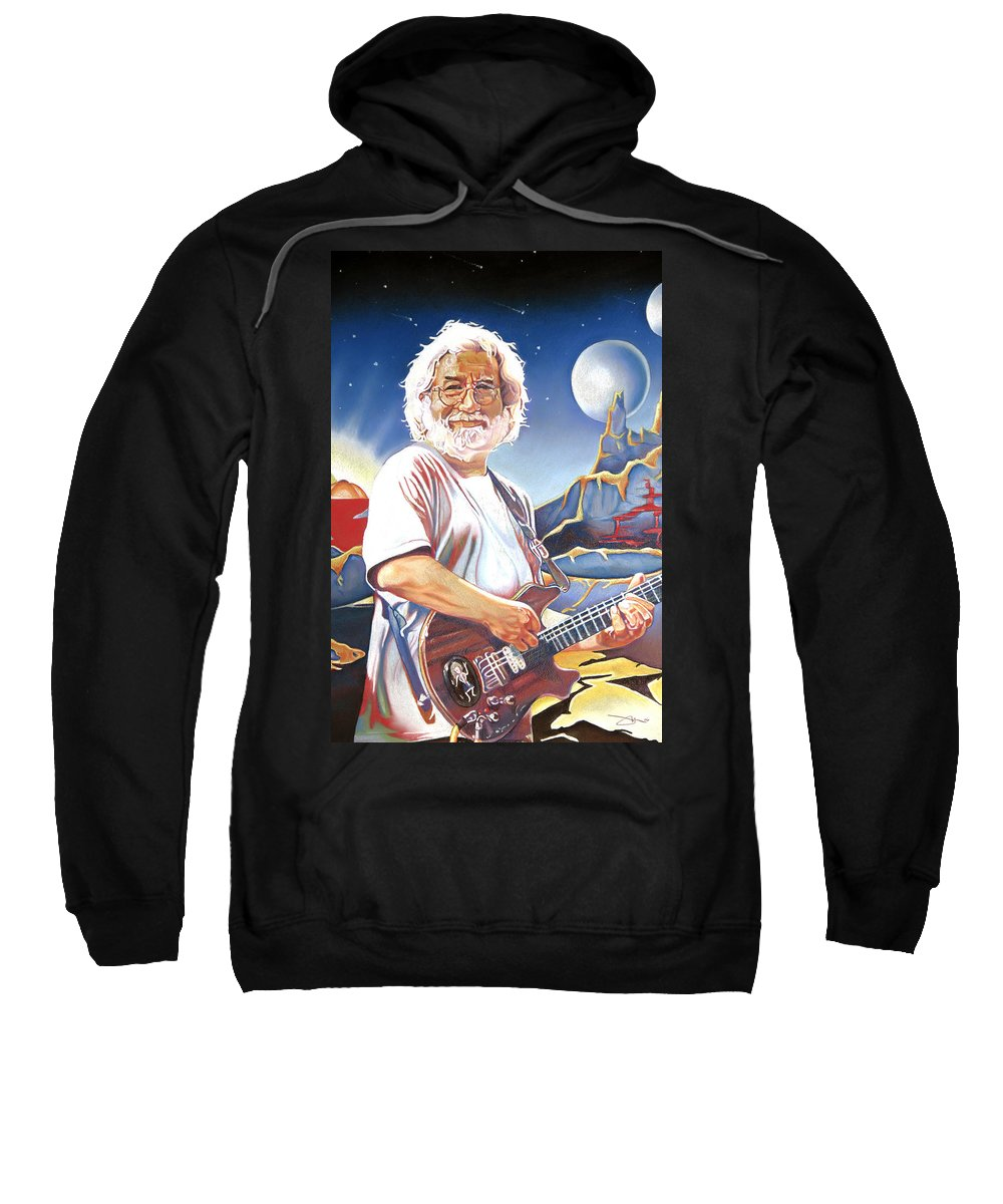 Jerry Garcia Sweatshirt featuring the drawing Jerry Garcia Live At The Mars Hotel by Joshua Morton