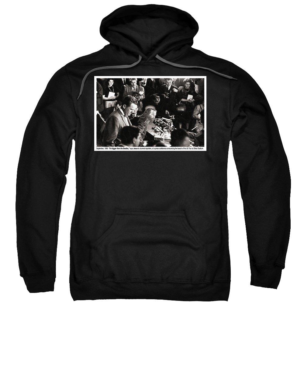 John Lennon Sweatshirt featuring the painting Jesus Press Conference 1966 by Tony Rubino