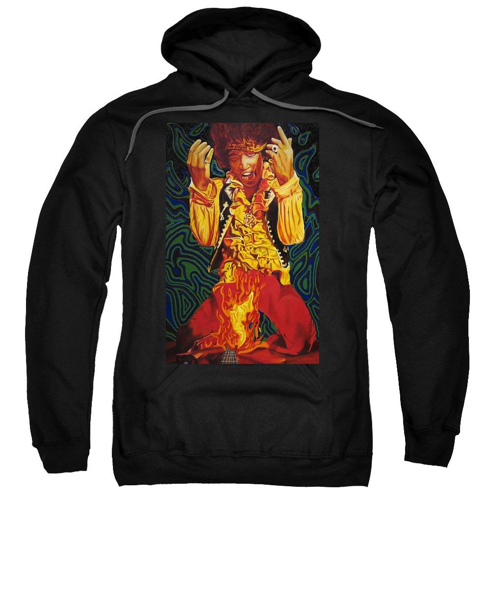 Jimi Hendrix Sweatshirt featuring the painting Jimi Hendrix Fire by Joshua Morton
