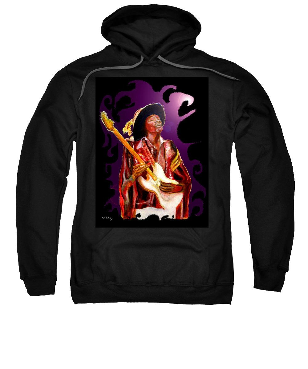 Rock Sweatshirt featuring the painting Jimi Hendrix Variations In Purple And Black by Tom Conway