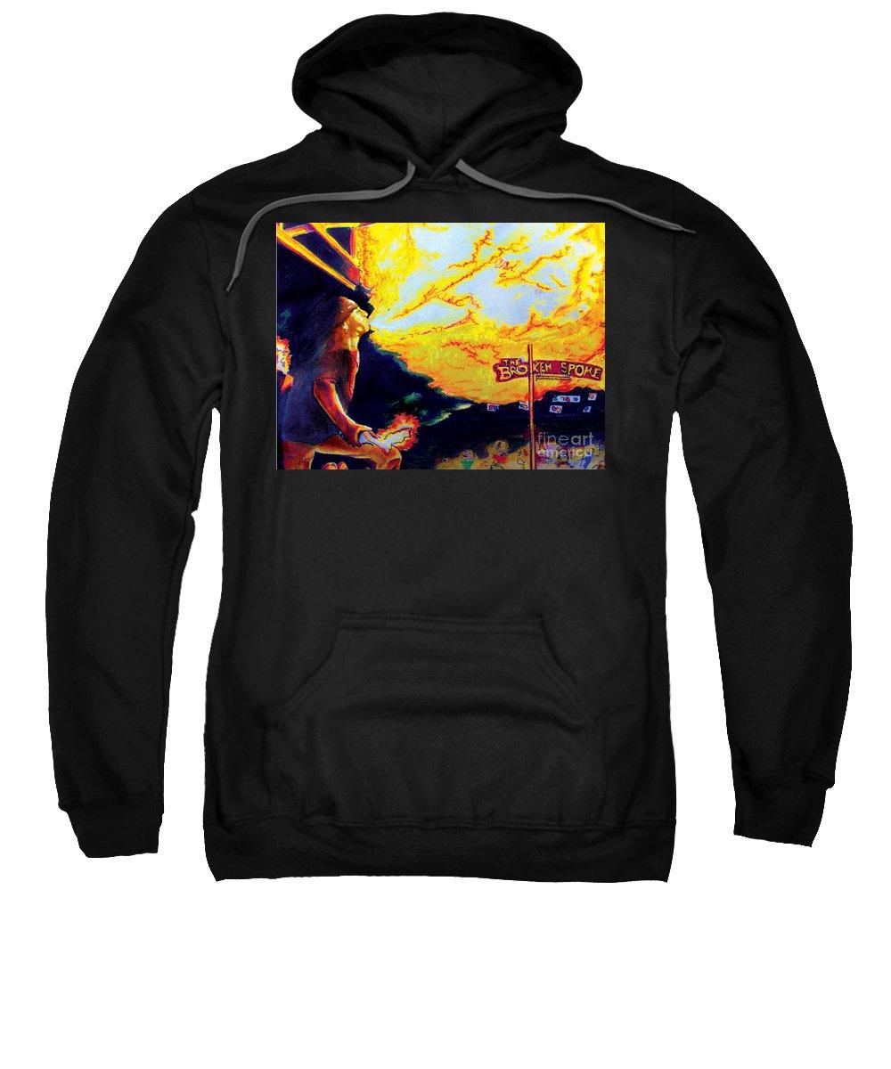 Bartender Sweatshirt featuring the painting Joe At The Broken Spoke Saloon by Albert Puskaric