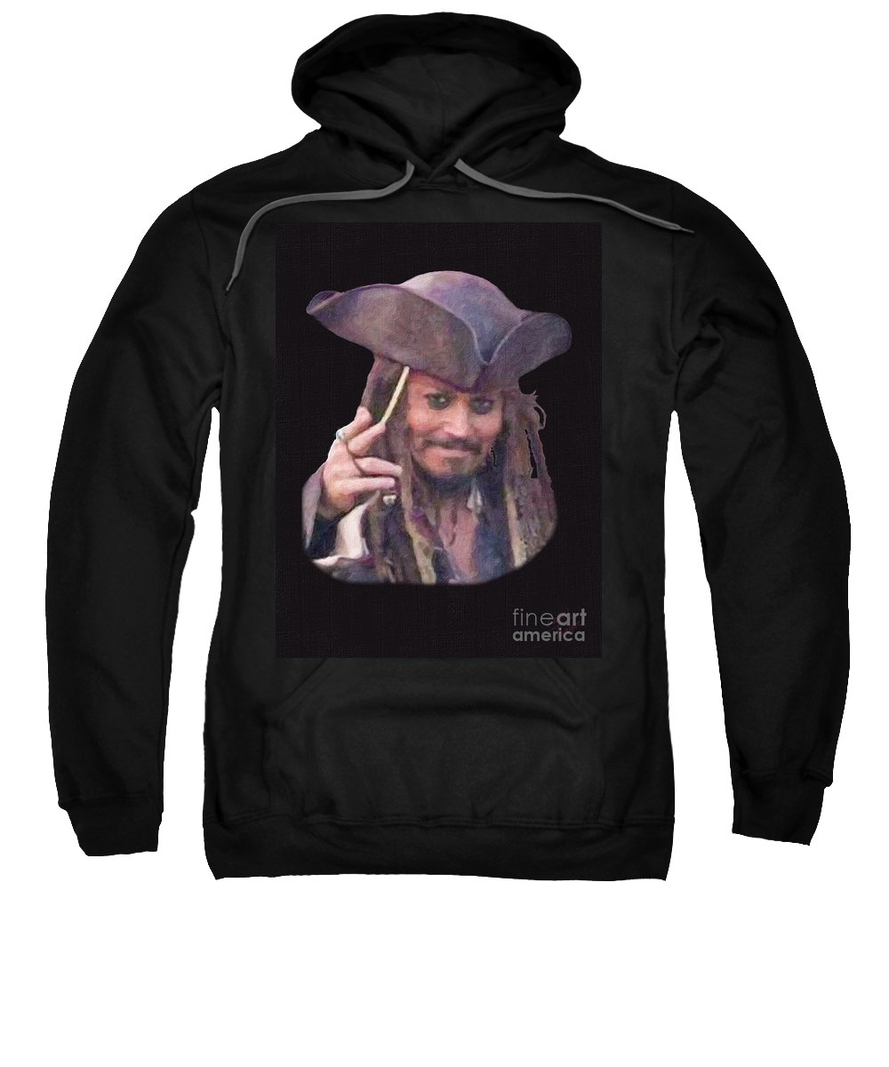 Johnny Sweatshirt featuring the painting Johnny Depp by Charles Thayer
