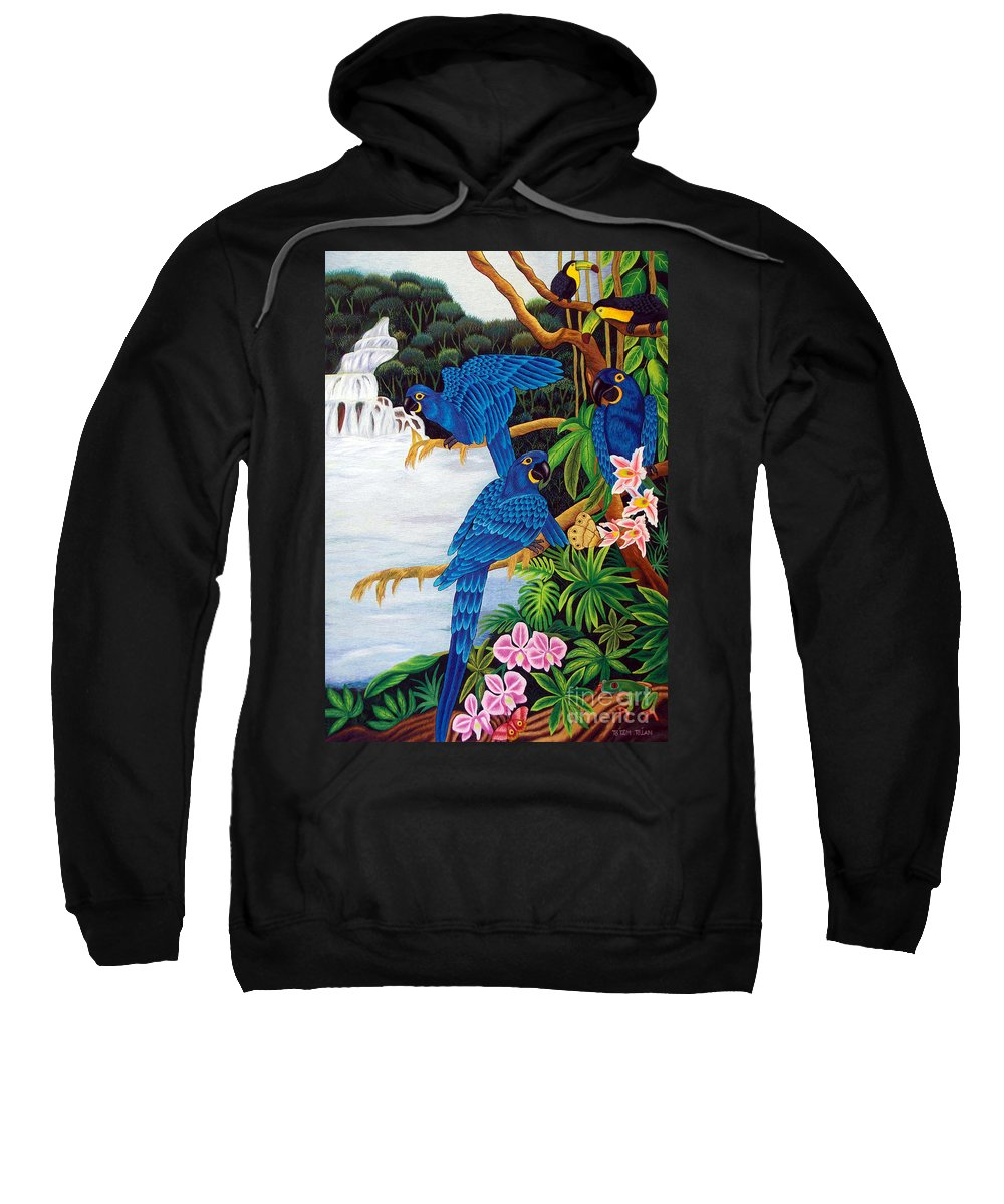 Toucan Sweatshirt featuring the tapestry - textile Jungle Chats Hand Embroidery by To-Tam Gerwe