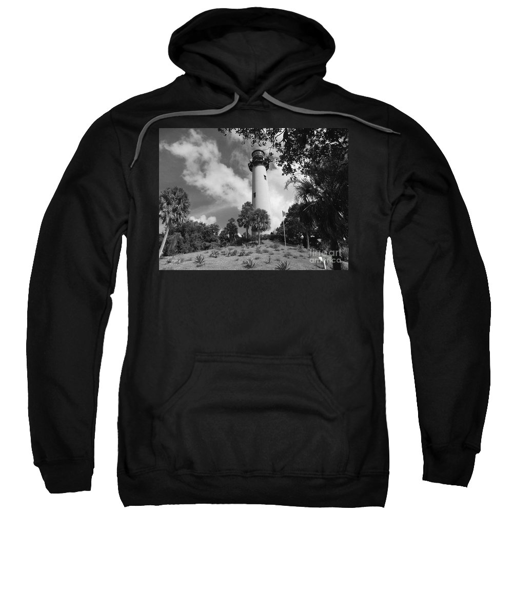 Lighthouse Sweatshirt featuring the photograph Jupiter Inler Lighthouse In Black And White by Jennifer Lavigne