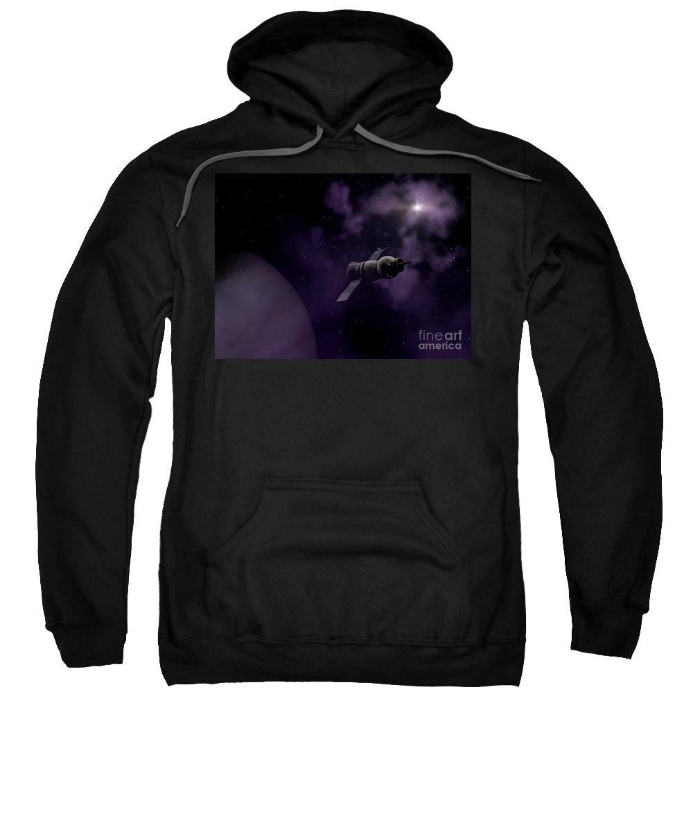 Space Sweatshirt featuring the digital art Jupitor One Exploration by Richard Rizzo