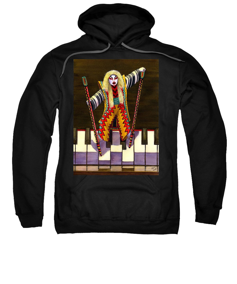 Kabuki Sweatshirt featuring the painting Kabuki Chopsticks 2 by Catherine G McElroy