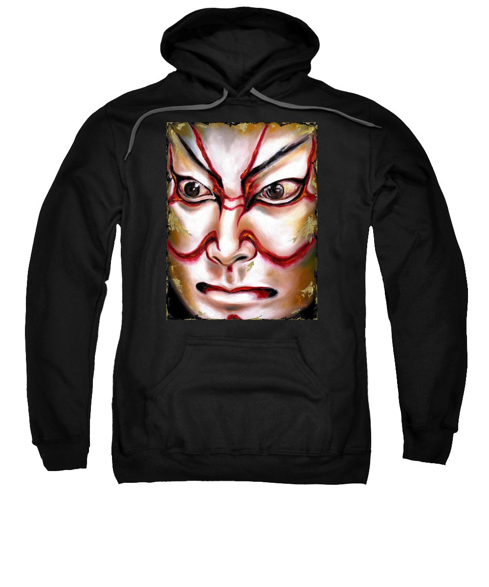 Kabuki Sweatshirt featuring the painting Kabuki One by Hiroko Sakai