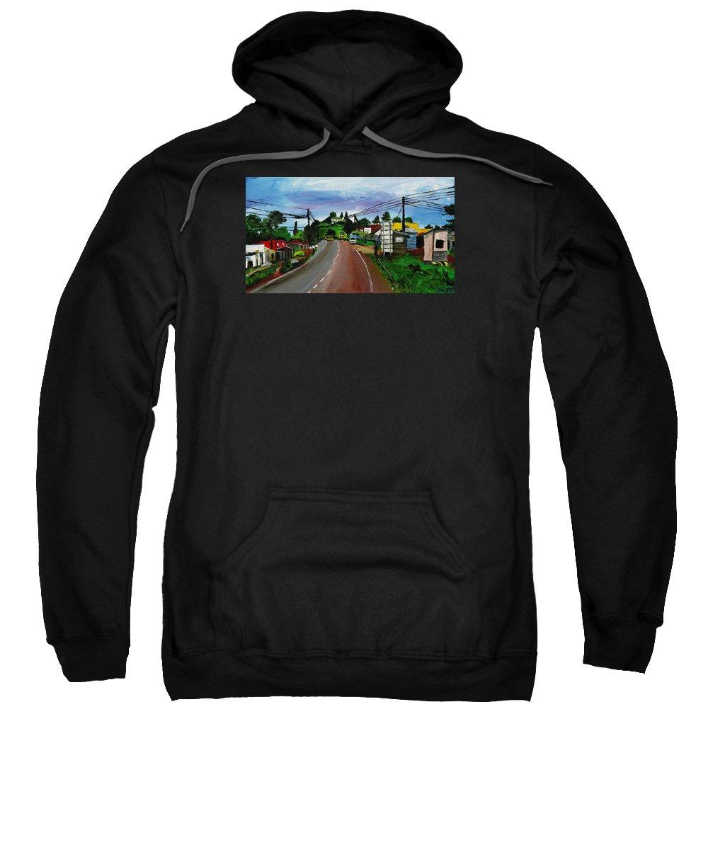 Uganda Sweatshirt featuring the painting Kaihura Trading Center by Katie Sasser