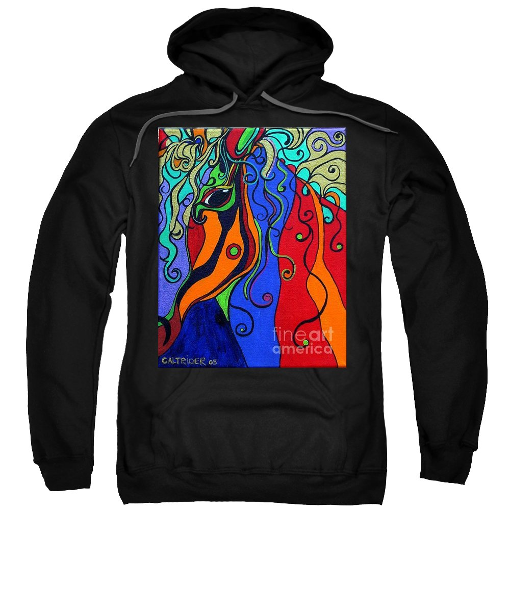 Horse Sweatshirt featuring the painting Kaleidoscope Eyes by Alison Caltrider