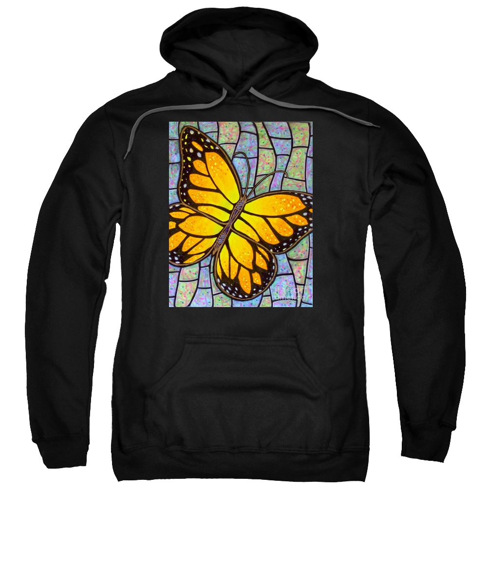 Butterflies Sweatshirt featuring the painting Karens Butterfly by Jim Harris