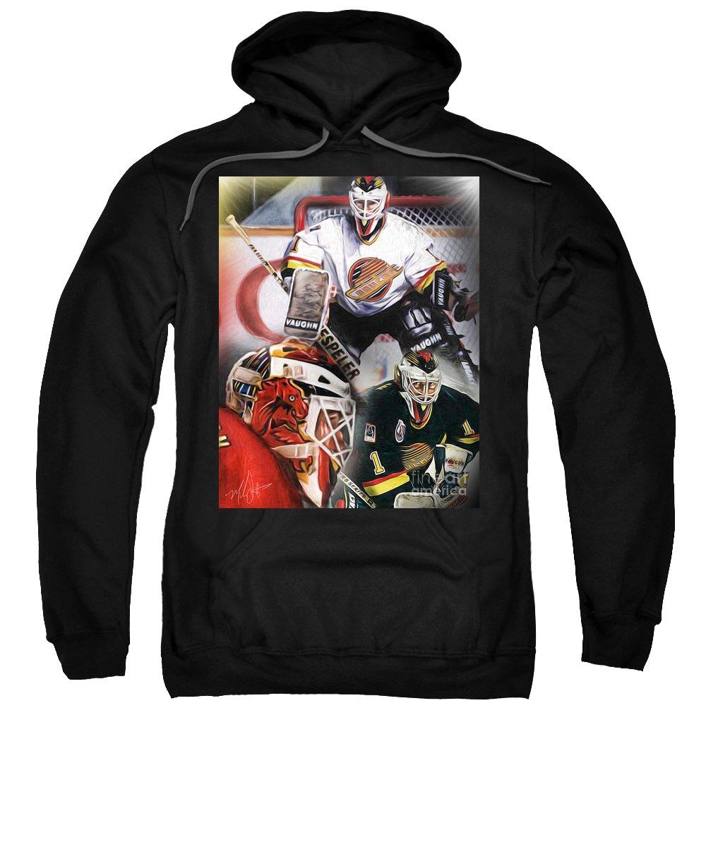 Kirk Mclean Sweatshirt featuring the painting Kirk Mclean Collage by Mike Oulton