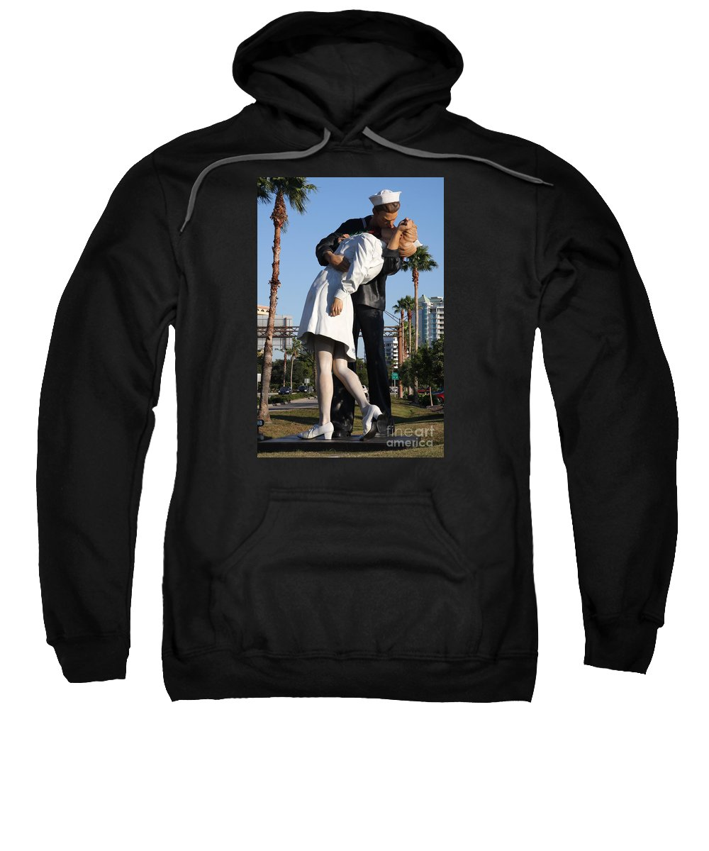 Art Sweatshirt featuring the photograph Kissing Sailor - The Kiss - Sarasota by Christiane Schulze Art And Photography
