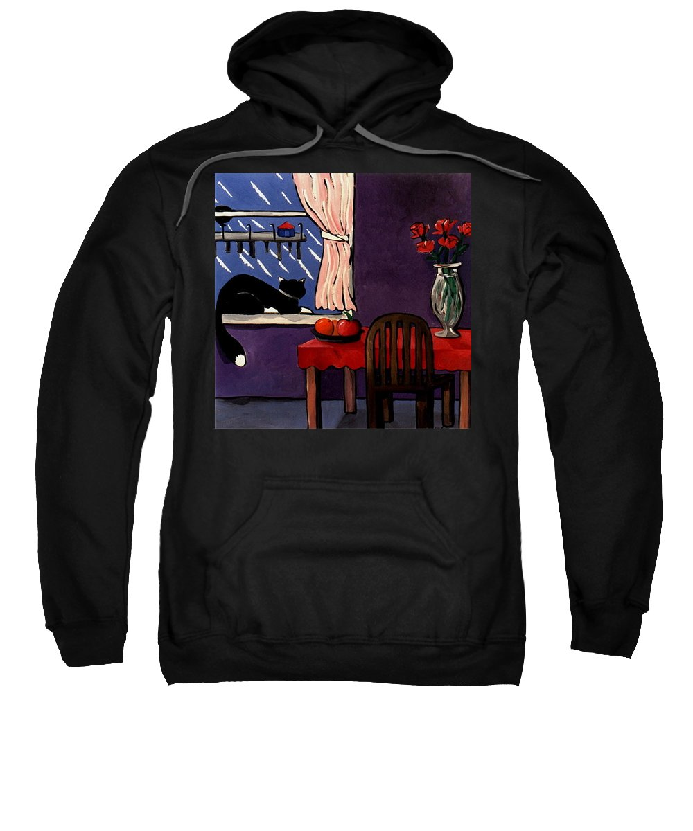 Cats Sweatshirt featuring the painting Kitty Over Manhattan by Lance Headlee