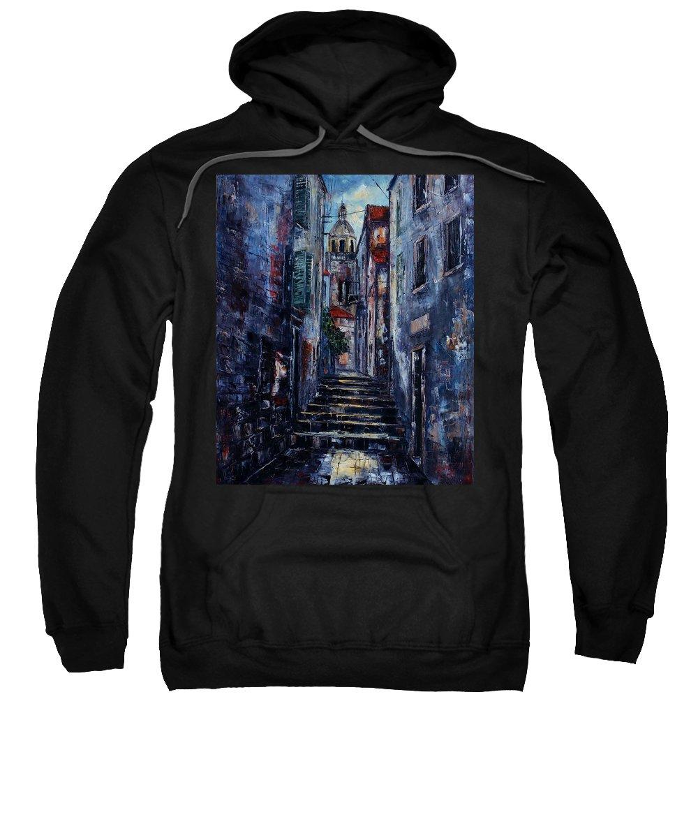 Architecture Sweatshirt featuring the painting Korcula - Old Town - Croatia by Miroslav Stojkovic - Miro