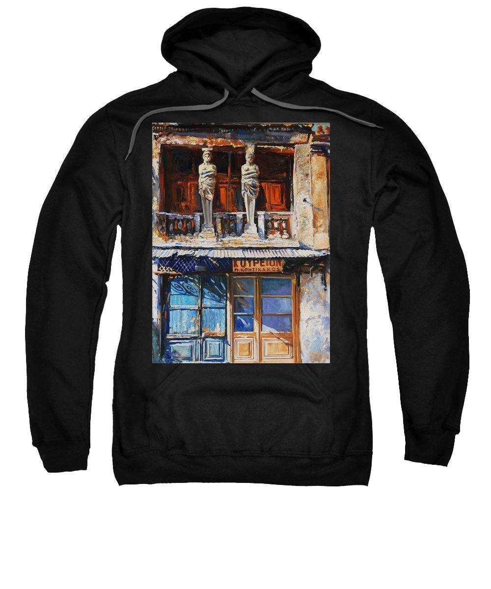 Old Greek Sculptures Sweatshirt featuring the painting Koriates by Sefedin Stafa