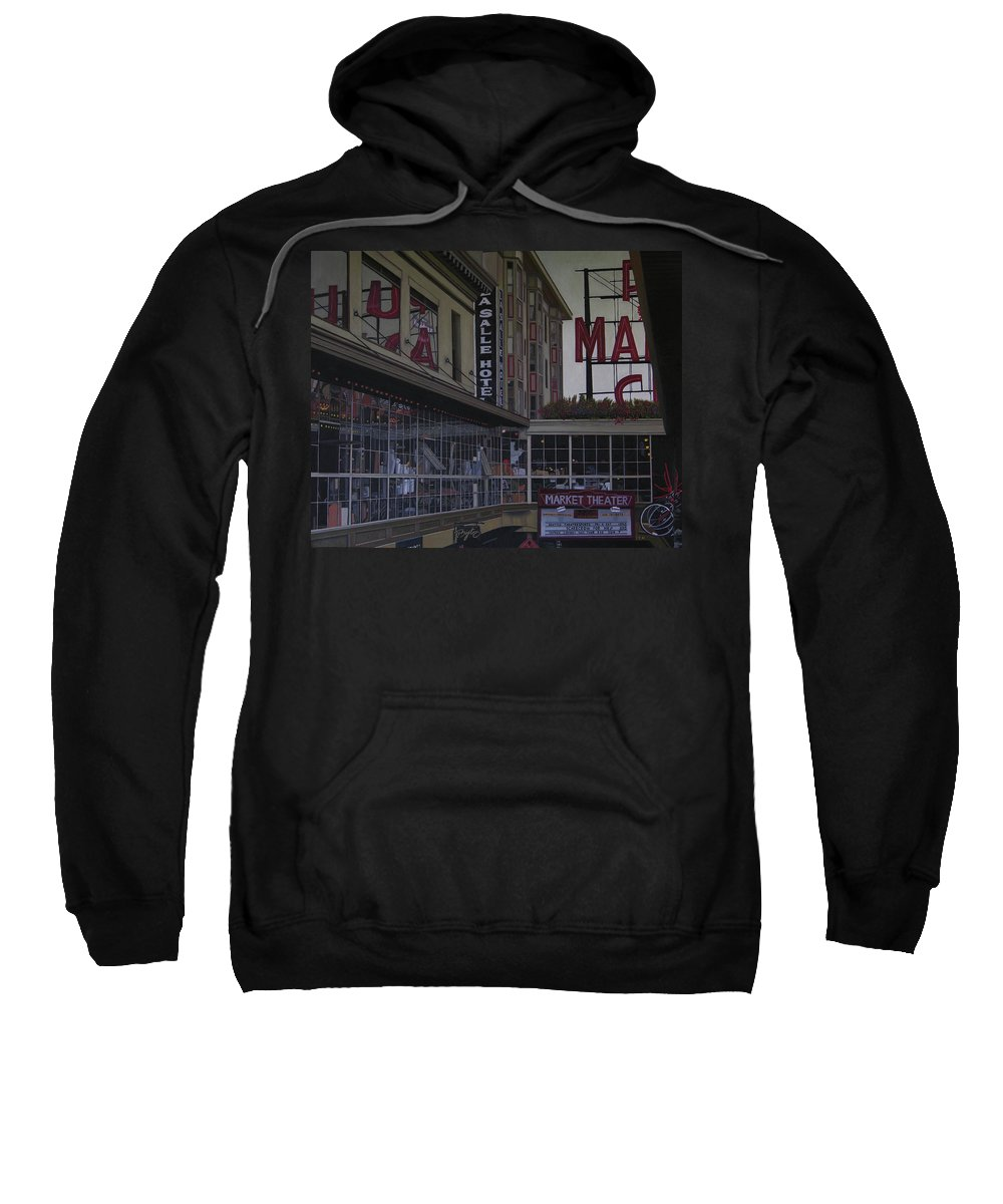 La Salle Hotel Sweatshirt featuring the painting La Salle Hotel by Thu Nguyen