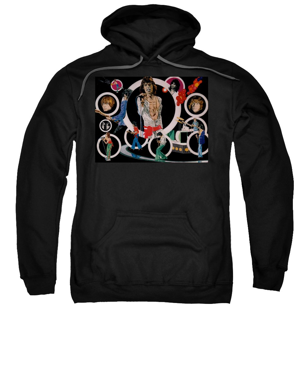 Mick Jagger;keith Richards;brian Jones;charlie Watts;bill Wyman;rock & Roll;music;guitars;water Sweatshirt featuring the drawing Ladies And Gentlemen - The Rolling Stones by Sean Connolly