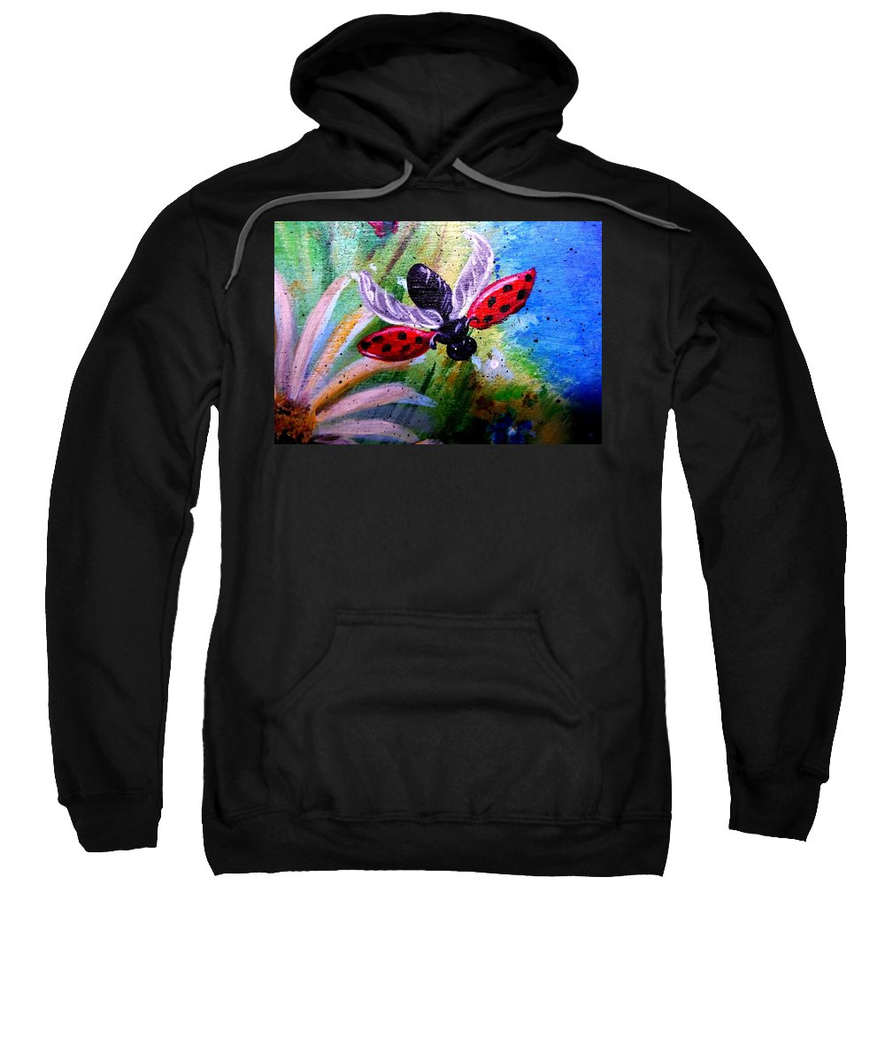 Lady Bug Sweatshirt featuring the painting Lady Bug Landing by Dori Anderson