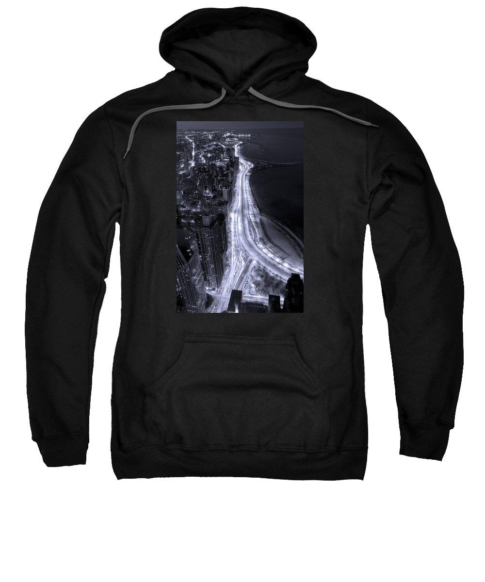 Beach Sweatshirt featuring the photograph Lake Shore Drive Aerial B And W by Steve Gadomski