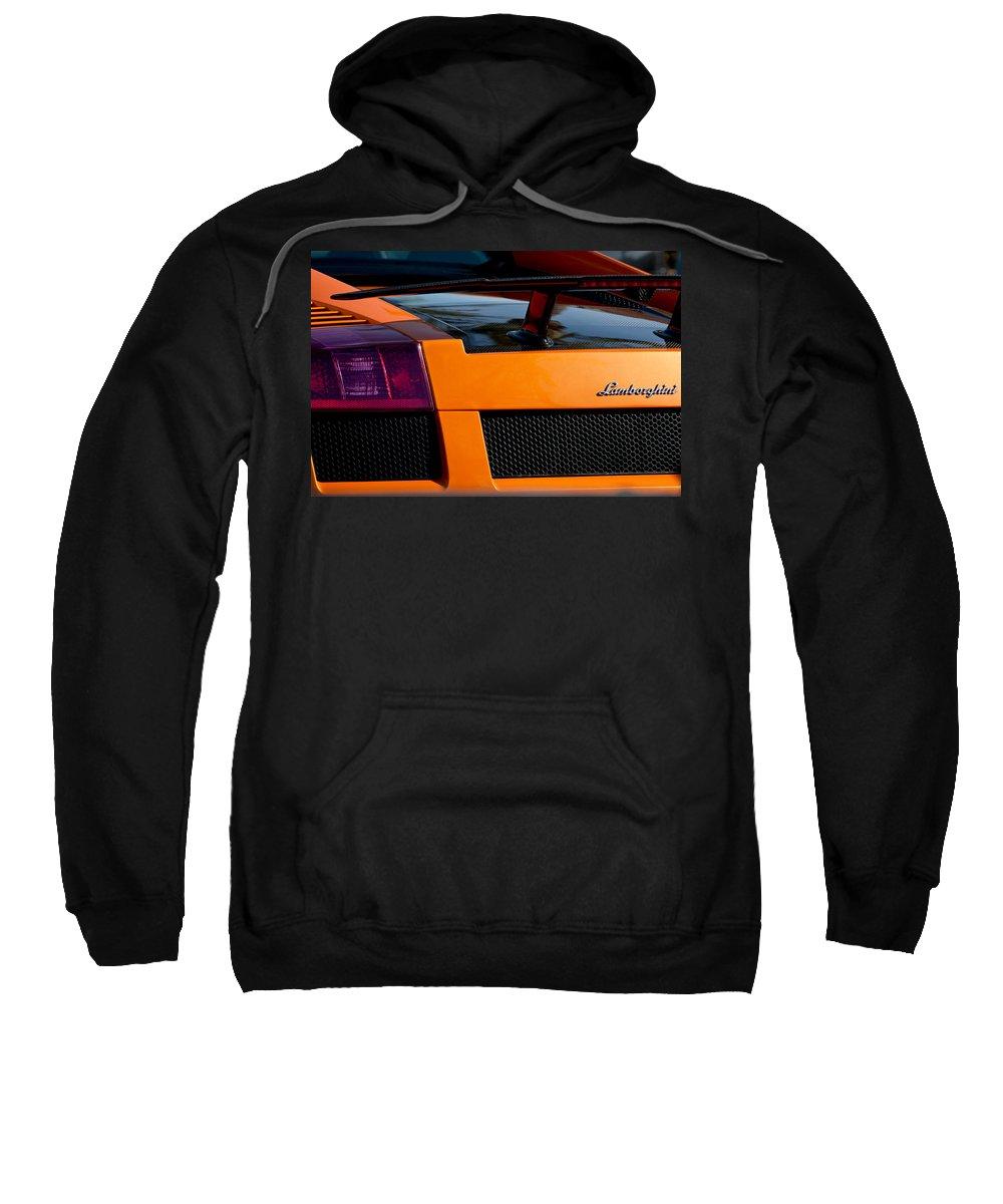 Lamborghini Sweatshirt featuring the photograph Lamborghini Rear View 2 by Jill Reger