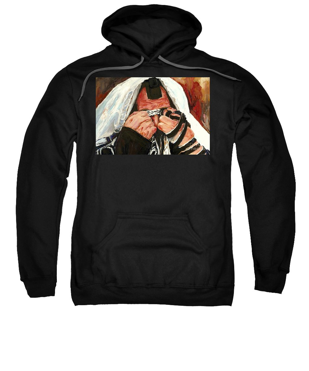 Montreal Religious Portraits Sweatshirt featuring the painting Lamentations by Carole Spandau