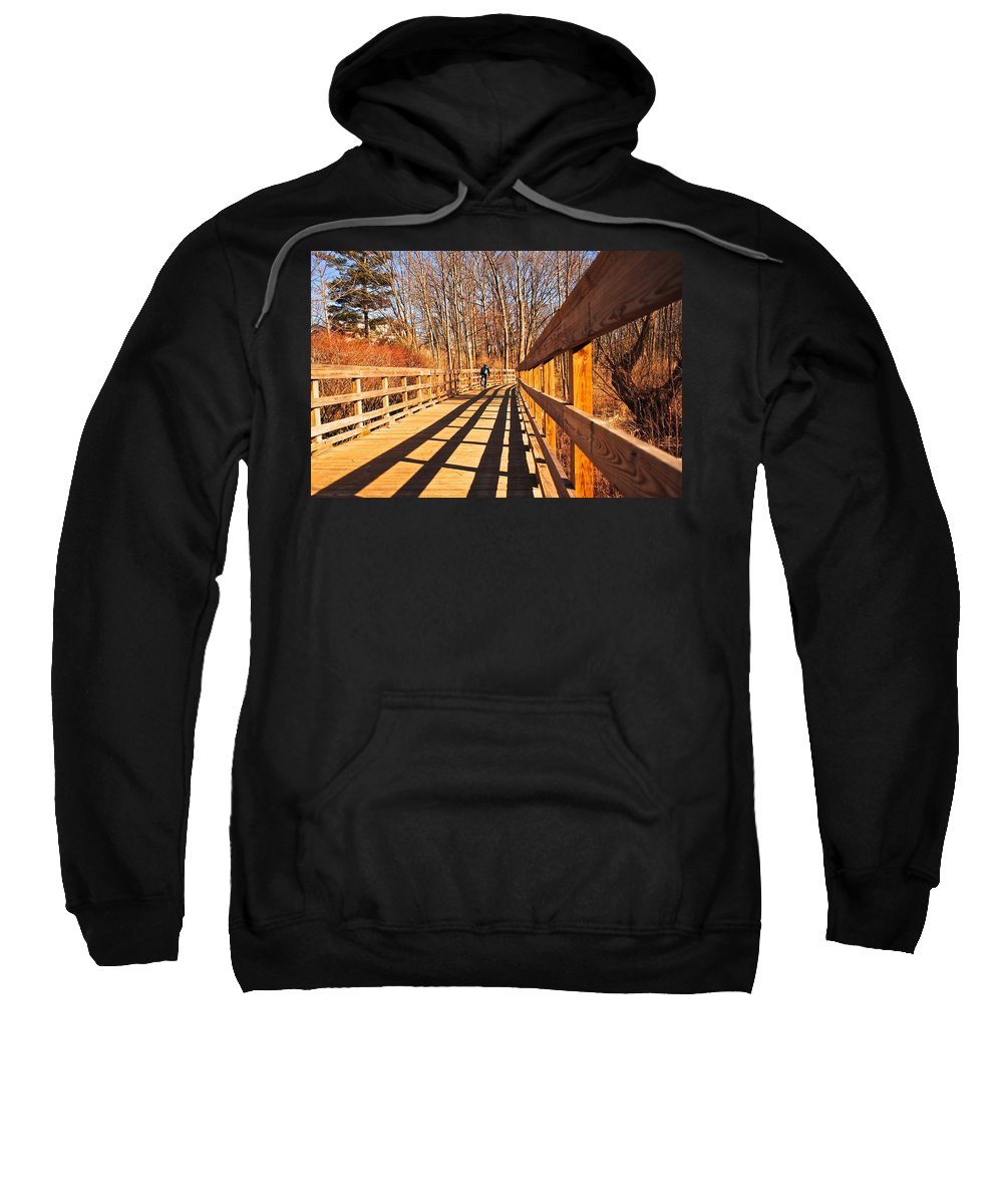 Boardwalk Sweatshirt featuring the photograph Lance Rides On by Frozen in Time Fine Art Photography