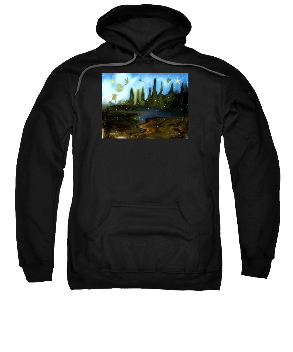 Fairies Sweatshirt featuring the painting Land Of The Fairies For Kids by Sherri's - Of Palm Springs